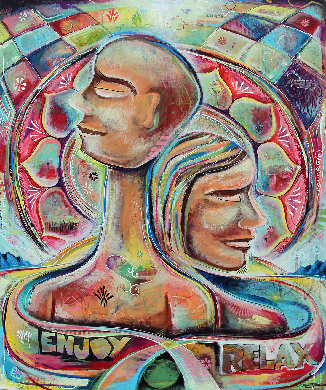 'Union' Acrylic/Aerosol on canvas. 40h x 34w. 2011