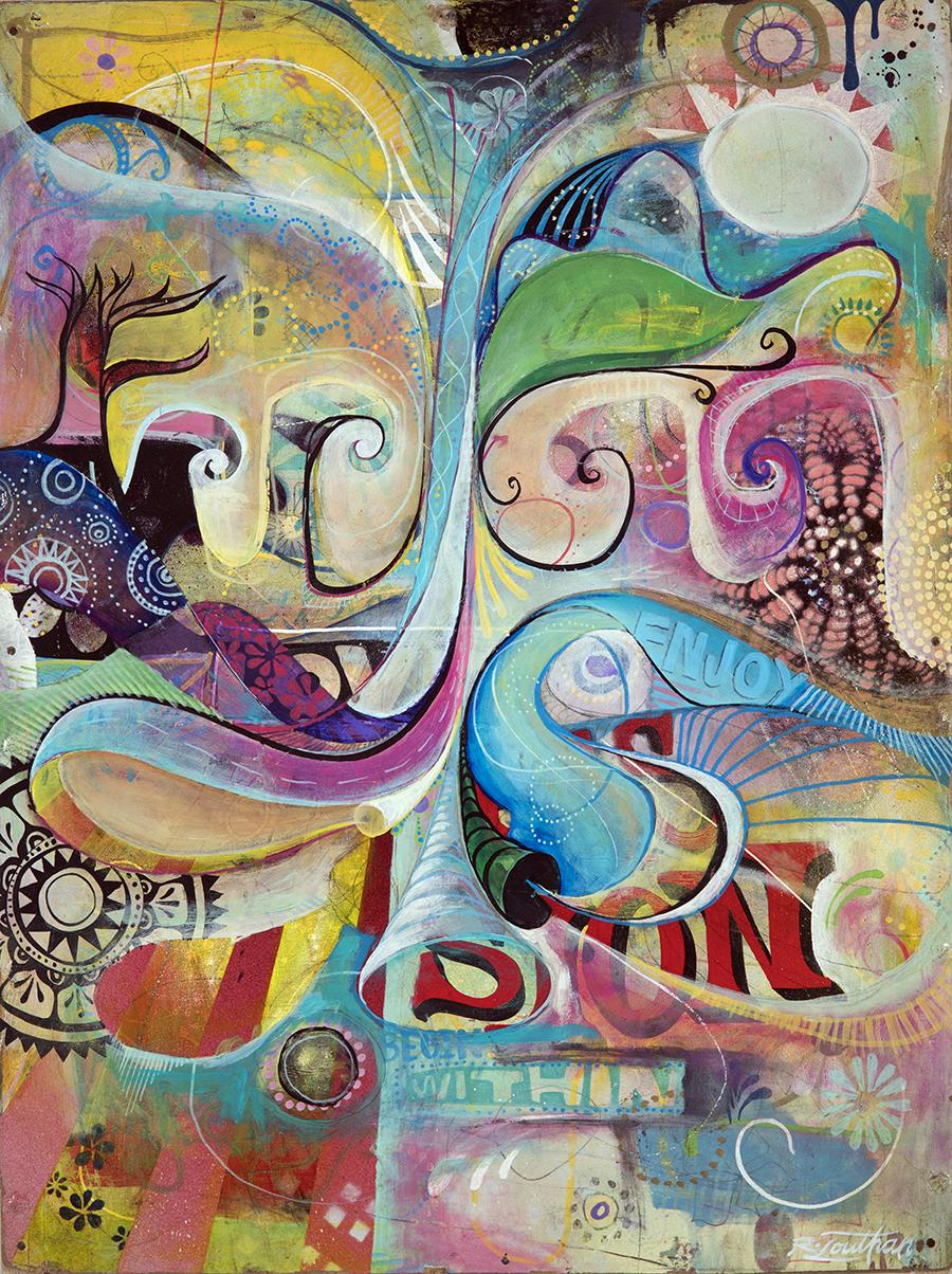 'Begin Again' Acrylic on wood. 23h x 17w. 2012