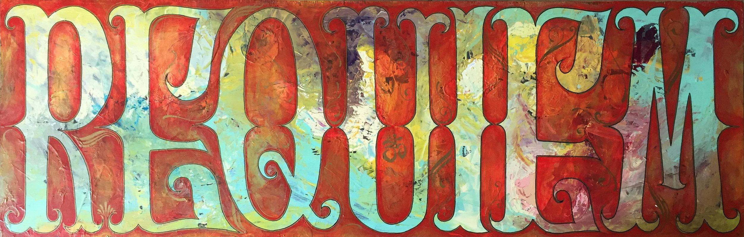 "'Requiem' Acrylic on wood. 48""x16"". 2018"