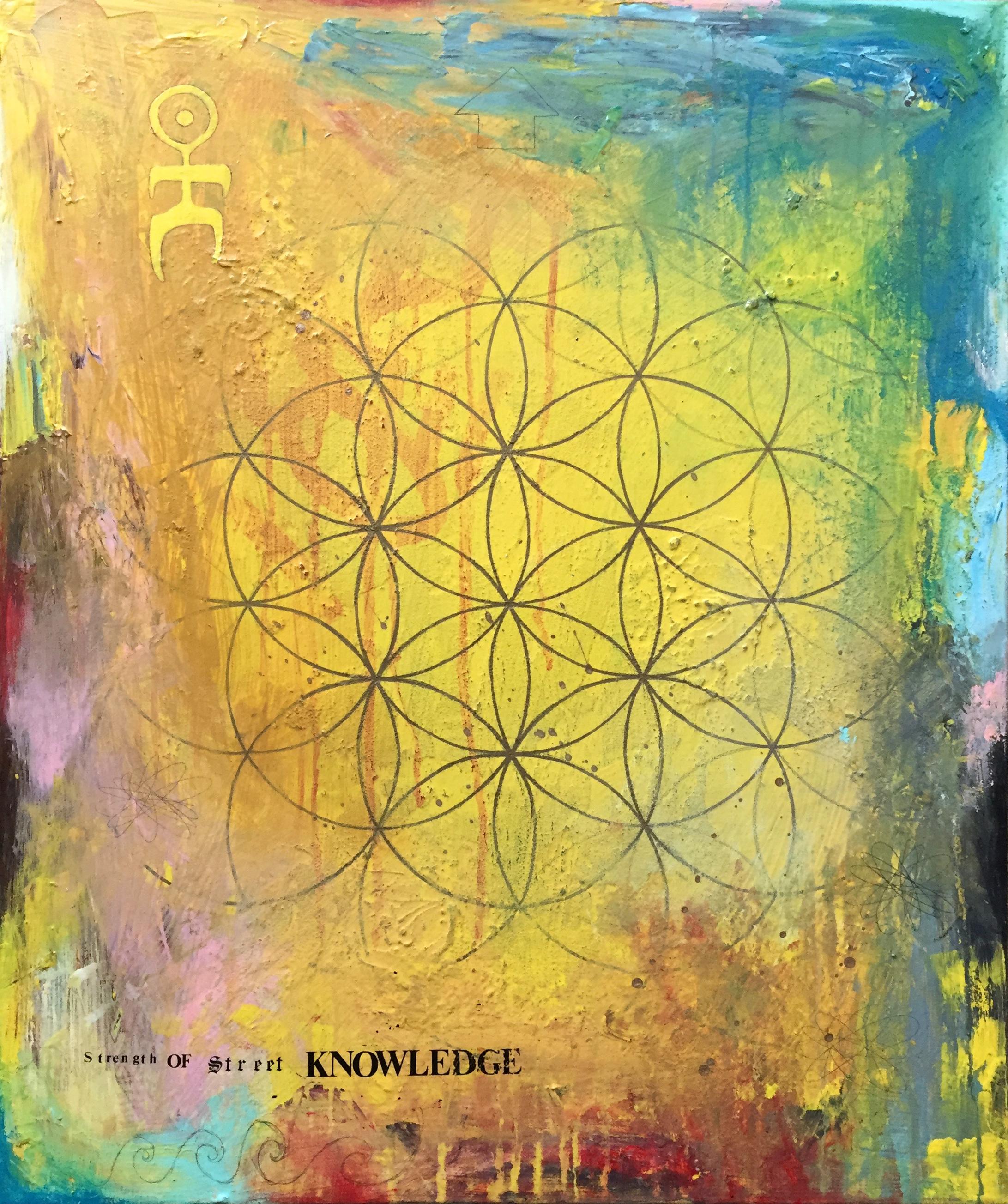 "'Street Knowledge' Acrylic on canvas. 20""x24"". 2018"