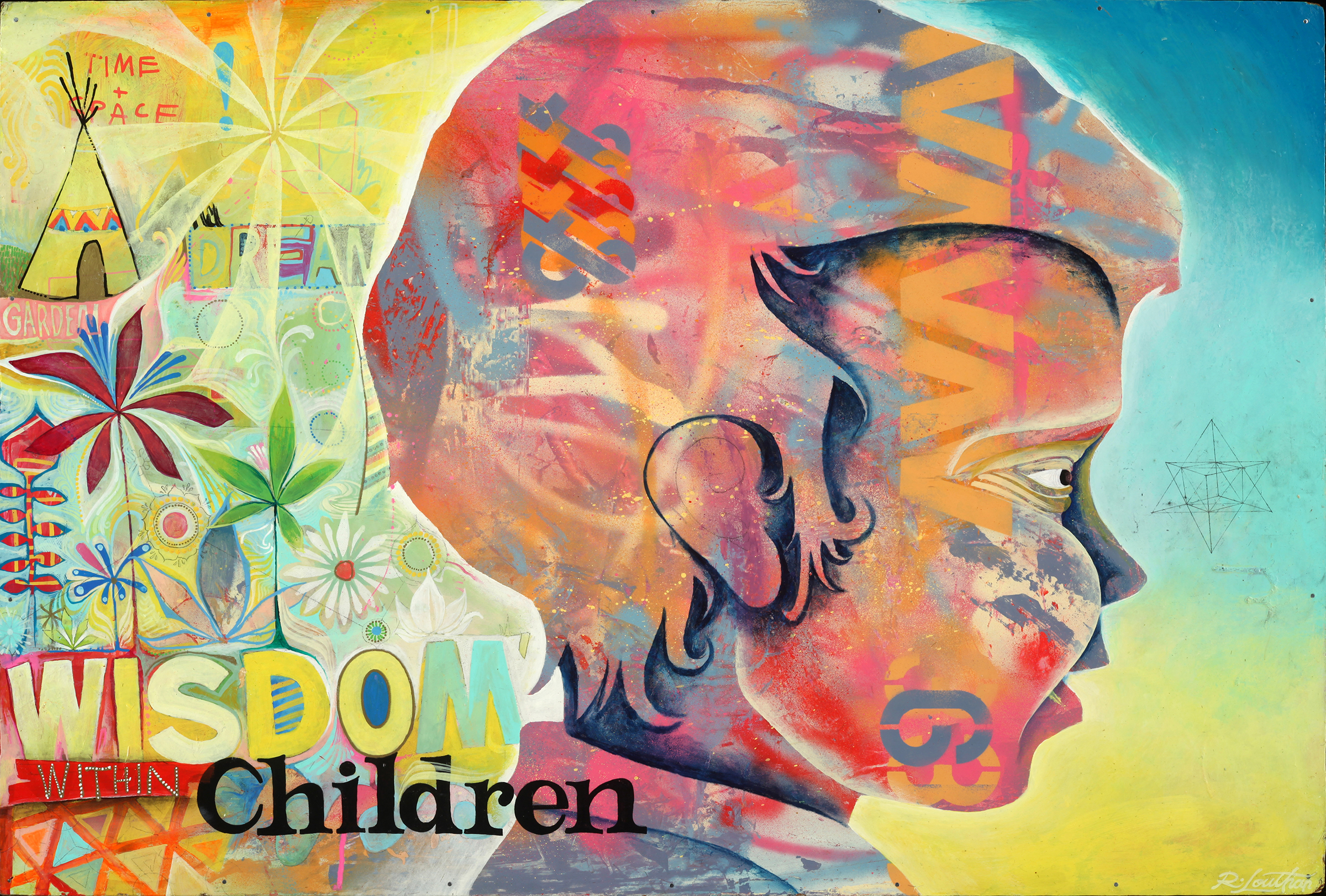 """'Young Wisdom' Acrylic, aerosol on wood. 36""""x24"""". 2018"""