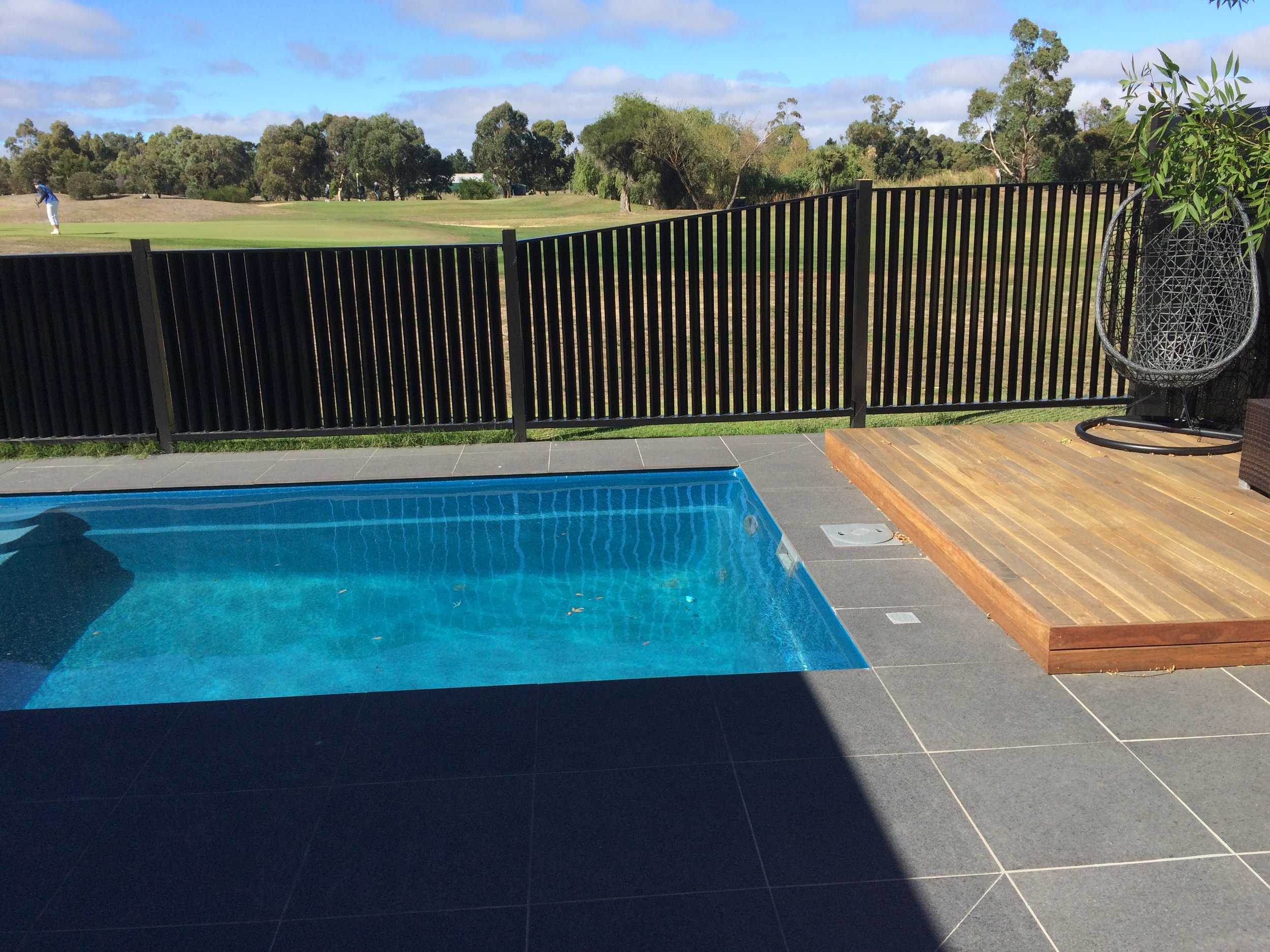 Deck, paving and feature screen