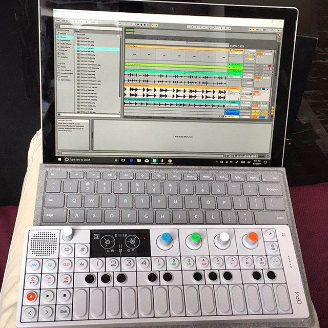 Thanks for the goodies @microsoft and @teenageengineering and to @ableton for all the help getting set up!  I love this rig for writing on the go!  #op1 #teenageengineering #surfacepro4 #microsoft