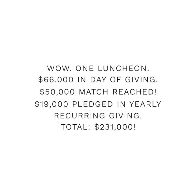 Thank you! What a joy to be together this week. Your outpouring of generosity and love is incredible!! We are overwhelmed by this amazing community. #weareONE #thankyou!!!!!
