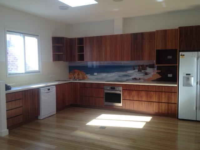 Beach scene printed acrylic kitchen splashback
