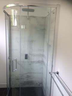 Custom Printed Splashbacks - White Wash Shower Walls