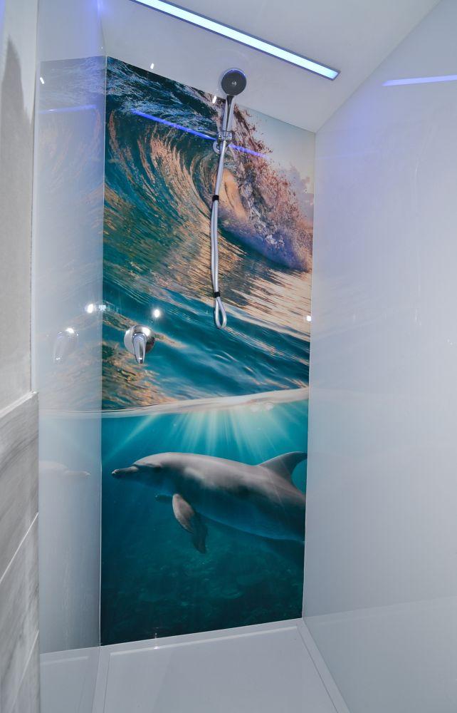 Printed Splashbacks - Dolphin and wave image
