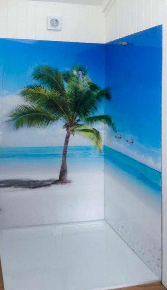 Shower Printed Splashbacks - Tropical palm tree