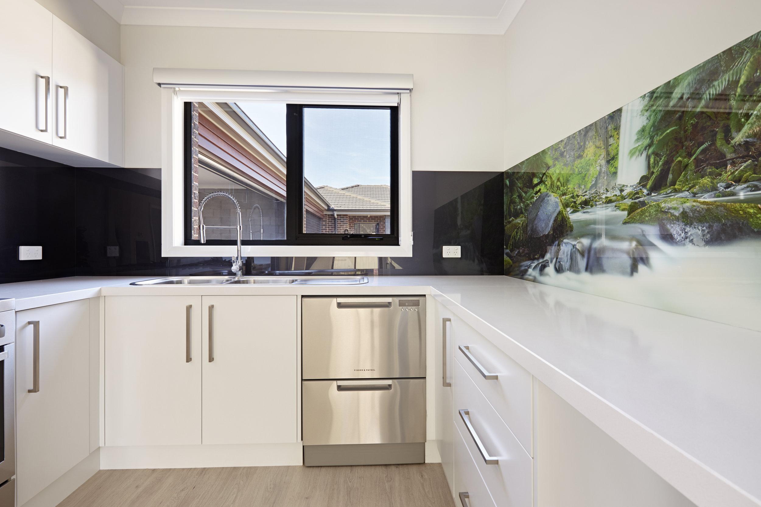 Waterfall image printed kitchen splashback