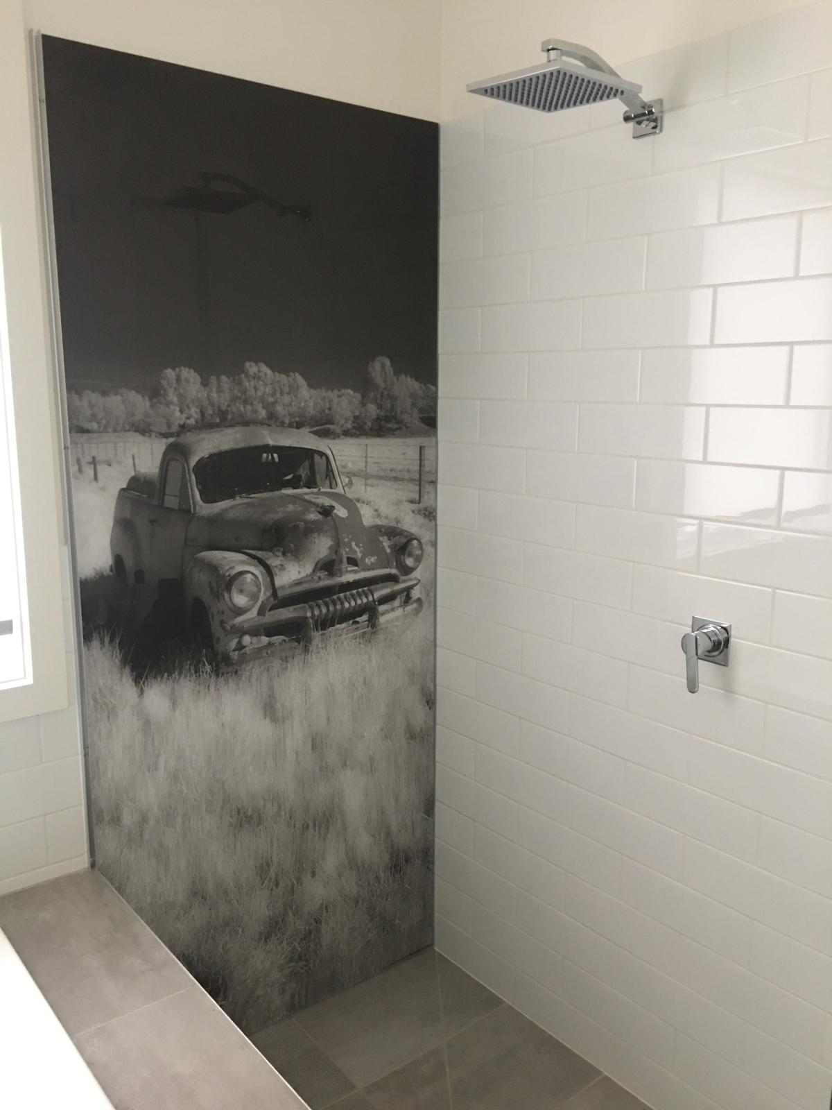 Custom black and white Holden print splashback