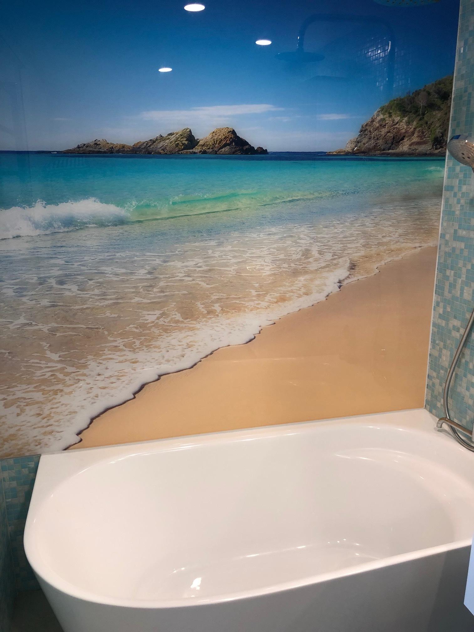 Printed bathroom wall panel