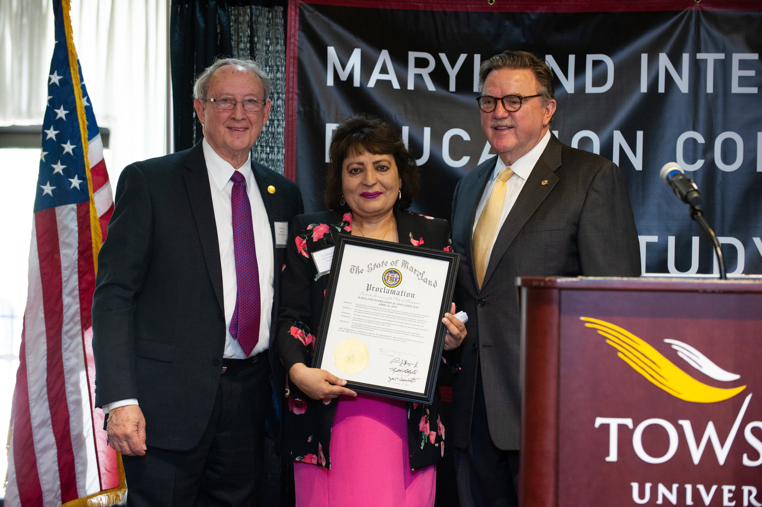 The Governor's Proclamation, with Secretary  President of MIEC Dr Saleha Suleman and Secretary Fielder
