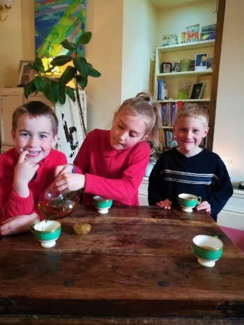 My Children Rebecca, Samuel and Jacob enjoying Mummy's Restorative Tea.