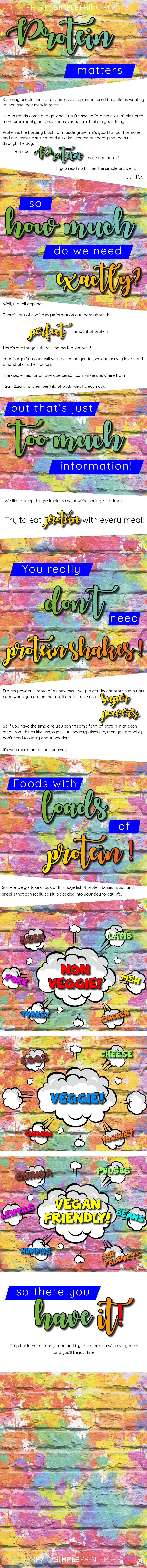 An informative infographic discussing the importance of protein, how much protein you should aim to eat and a list of high protein foods that work well when it comes to increasing your protein intake. Vegetarian, vegan and meat options are all provided in this fun and colourful infographic (free to anyone to save for future viewing).