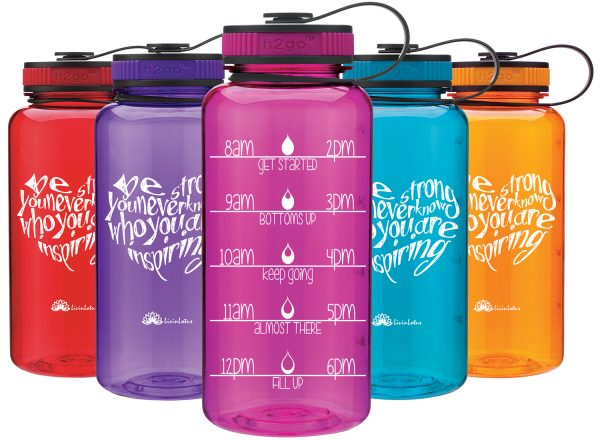 5 colourful water bottles with motivational writing on and marking for you to drink up to by a certain time. Beautifully designed with screw on lids.