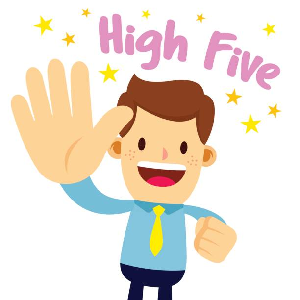 When it comes to weight loss, you simply have to trust the process. Image of cartoon man throwing a high five reminding you to stay positive and be proud of what you have already accomplished.