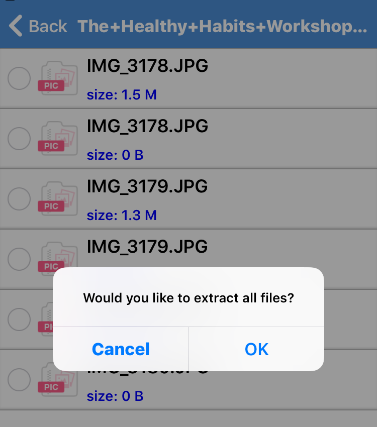 Confirmation screen of iZip