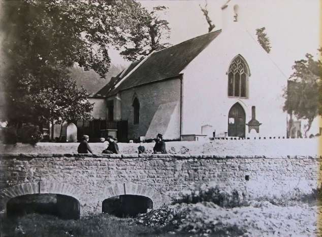 Photograph taken from roath.org.uk. The white chapel that existed in the location of Saint Margaret's Church before it was demolished to make way for the new building.