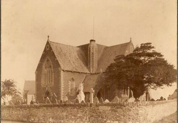 Photograph taken from Roath.org.uk - Saint Margaret's Church, just after it was built in 1870. It looks very similar to how it does now, although there are no longer as many gravestones present.