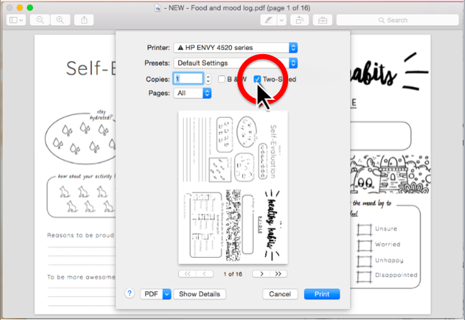 Step 3. Select the  2-sided option  in the menu. (see screenshot)