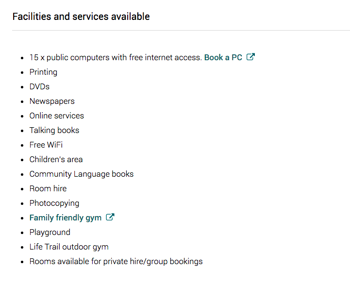 Facilities and services available at Penylan Library, Roath Rec (Cardiff)