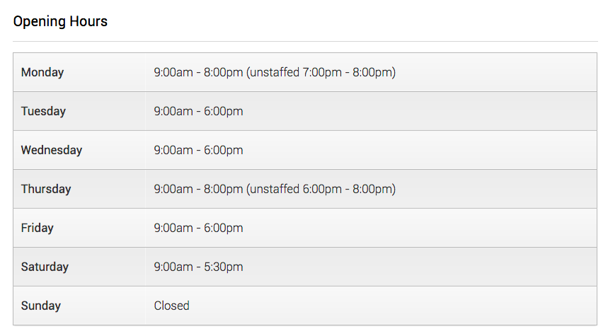 Opening times for Penylan Library (taken from their website)
