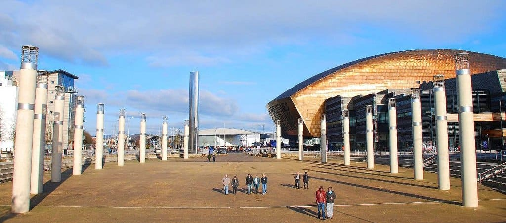 An image of Cardiff Bay looking beautiful, with the Millennium Centre in the background.