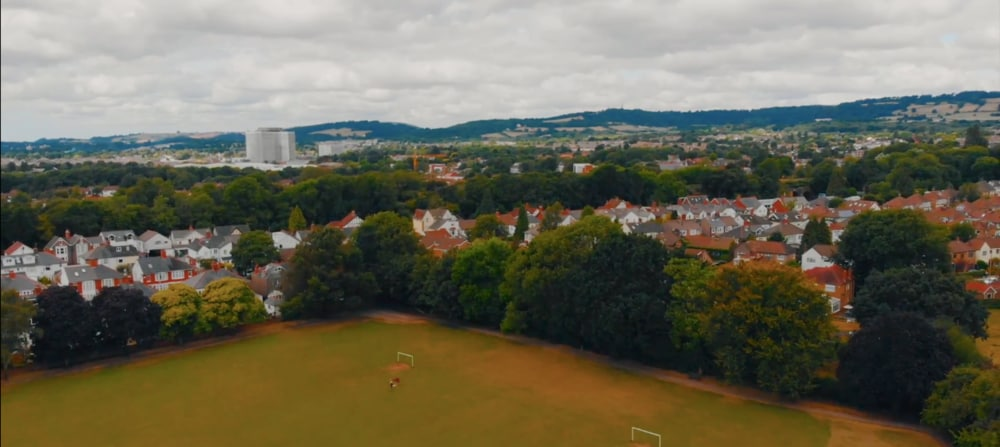 Rhydypenau Park, photographed from the sky. You can see much of Cardiff in the background, as well as the surrounding countryside Wales has to offer.