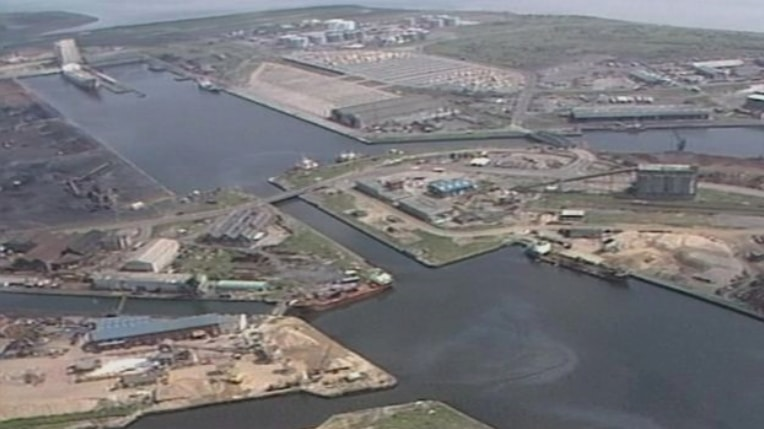 Photograph of Cardiff Bay, before the redevelopment.