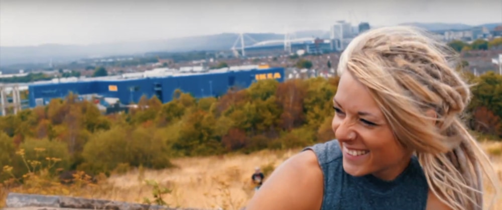 Screenshot taken from Walk of the Week series. Beth sat on Grangemoor hill, with Cardiff in the background.