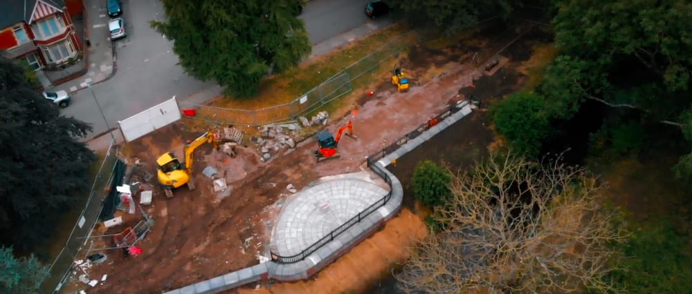 Screenshot taken from Walk of the Week, episode 4: Roath Brook Gardens. Aerial photograph of the construction work taking place at Roath Brook to prevent future flooding, implemented by Natural Resources Wales (NRW)