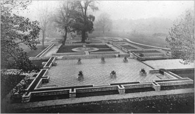 Old photograph of the remains on the Friary in Bute Park, Cardiff.