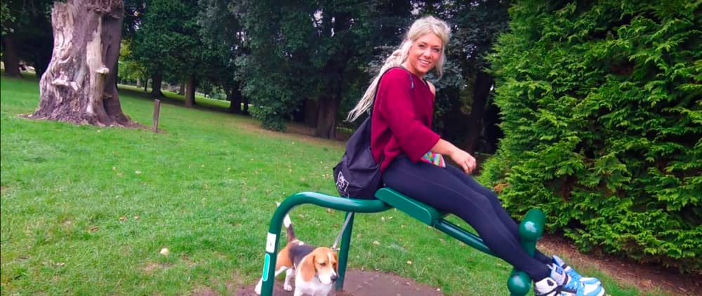 Screenshot taken from Walk of the Week, ep 5. Bute Park. Beth trying out the back extension machine. Oh, wait! She's doing sit-ups... Oops, hehe.