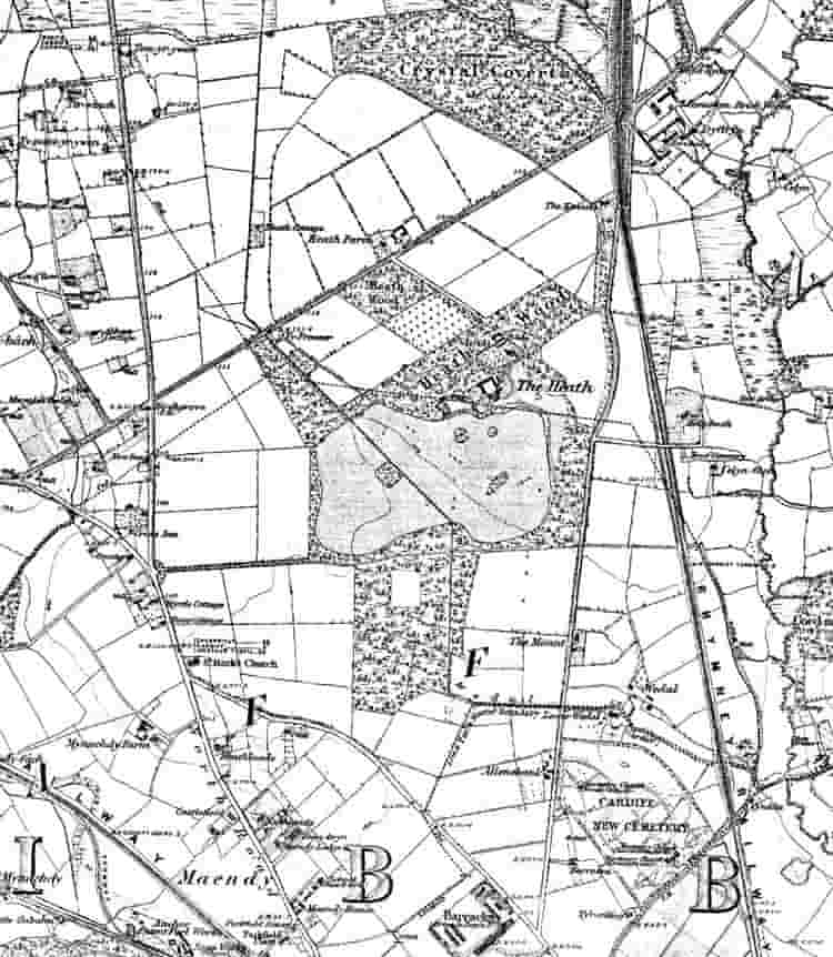 Old map of the Heath area, in 1886, before the park was built and the surrounding area was populated (taken from Cardiffians.co.uk)