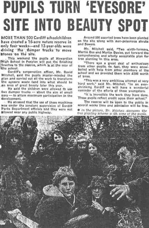 Old newspaper clipping of Howardian High School students helping to clean up what is now Howardian Local Nature Reserve (source:  howardianlnr.org.uk )