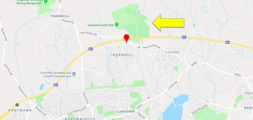 Yellow arrow points to Cefn Onn Park on the map (source: google)