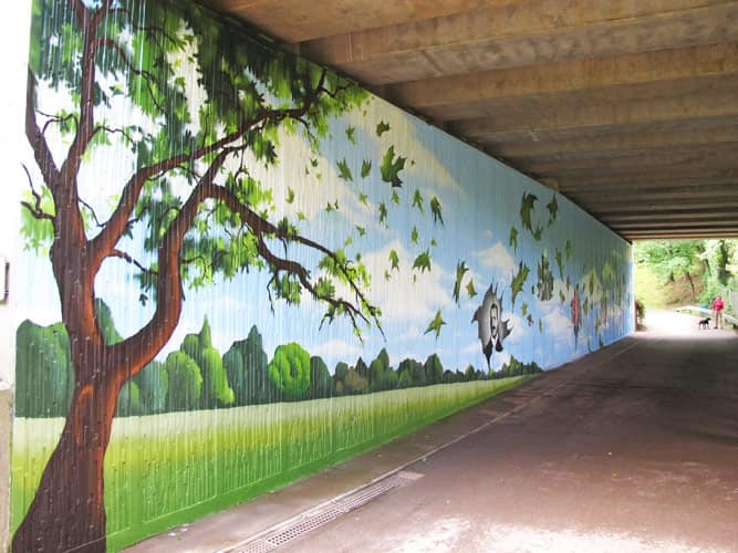 Mural at the entrance of Cefn Onn Park, painted by Peaceful Progress (photograph taken from  Peaceful Progress website )