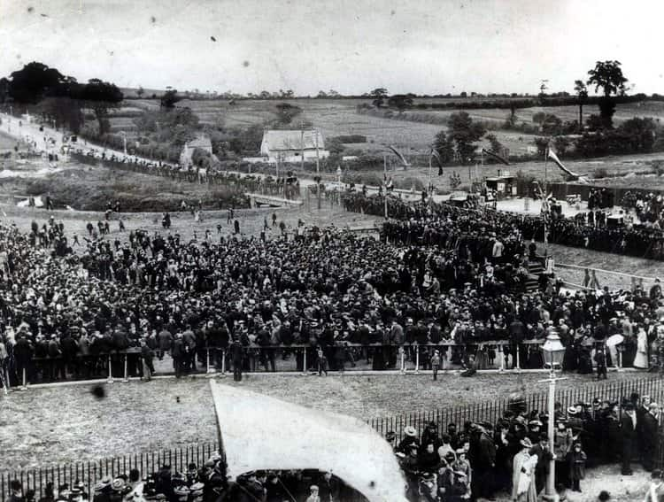 Crowds gather at the official opening ceremony of Roath Park Lake, in 1894.