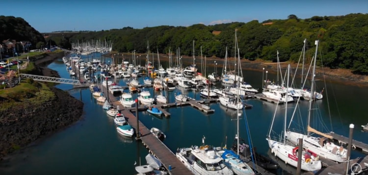 An aerial photograph of Nayland Marina, in Milford Haven, West Wales.