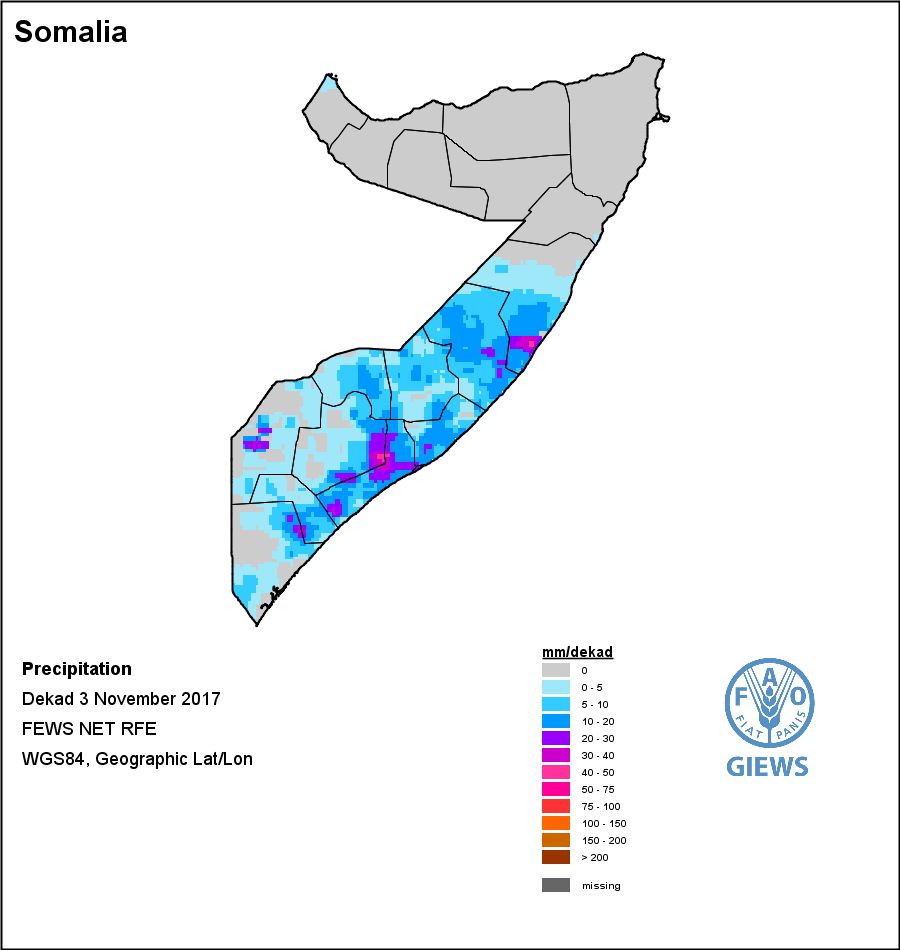 NOAA RFE2 Rainfall for the final 10 days in November 2017 - from the  GIEWS data viewer