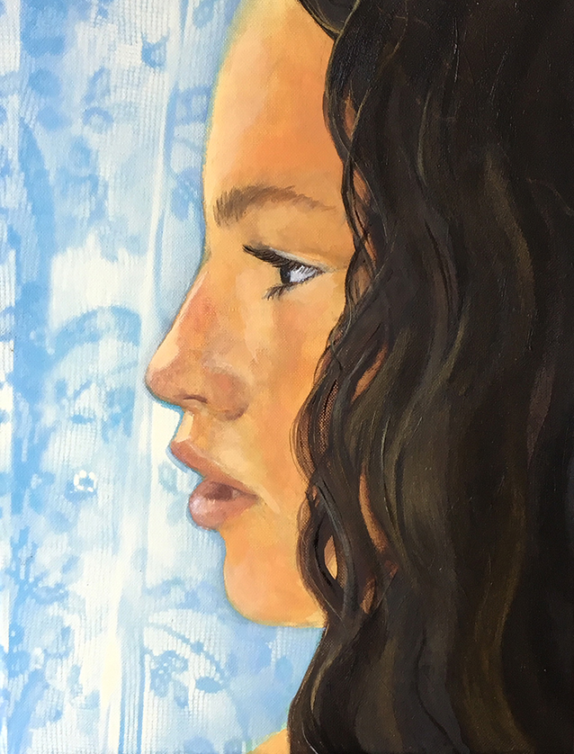 'Cheyenne By The Window'  Oil on canvas 400x300mm
