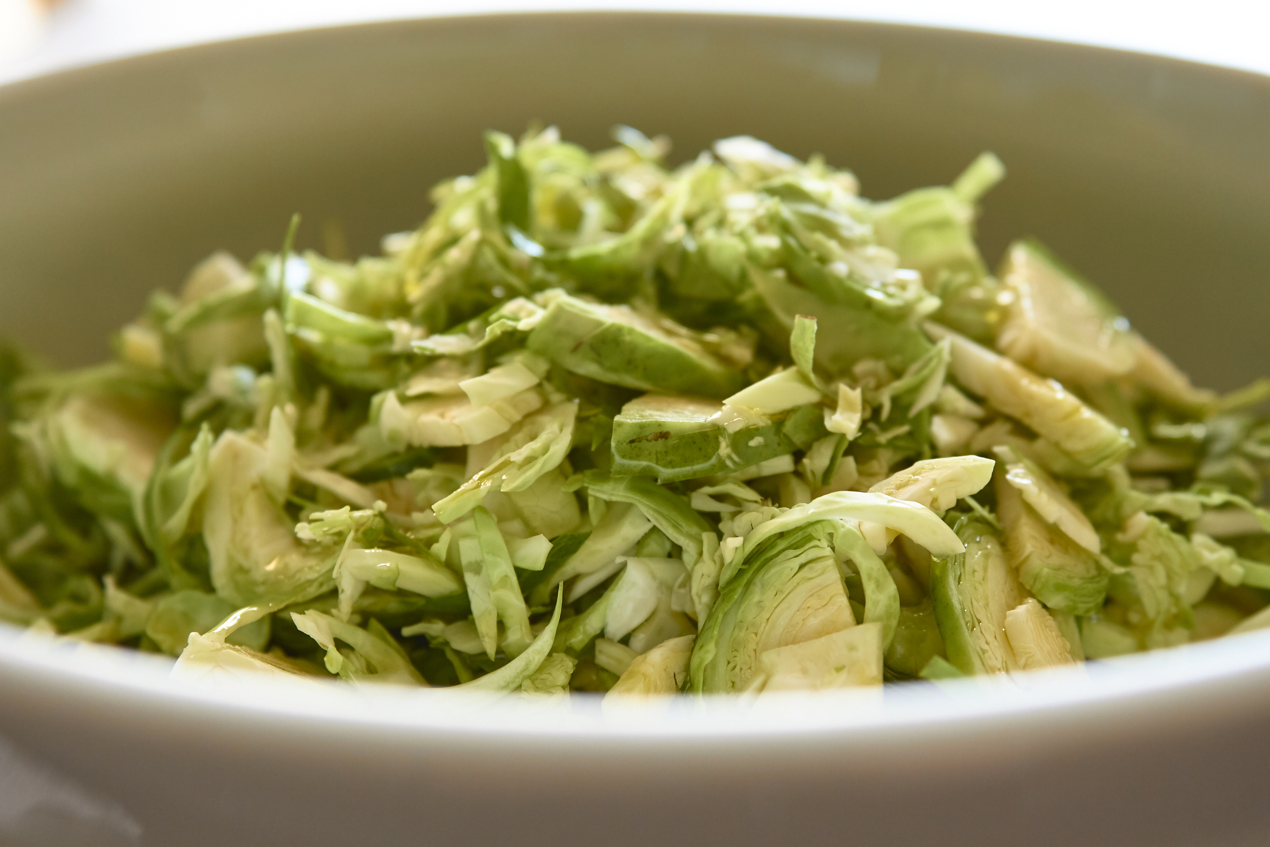 Brussels Sprout Salad - a closer look at the chopped sprouts | In Carina's Kitchen