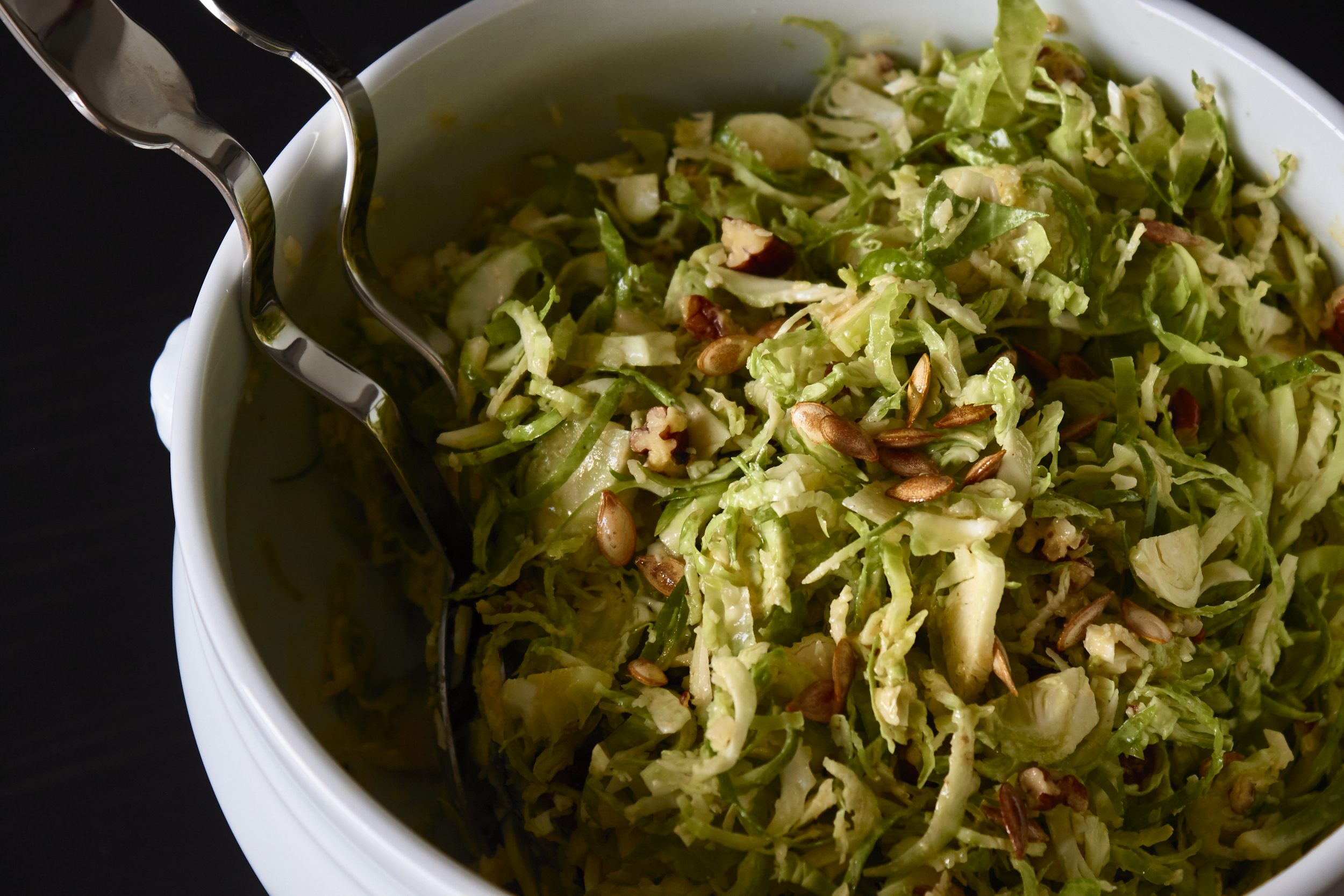 Brussels Sprout Salad - the salad after mixing | In Carina's Kitchen