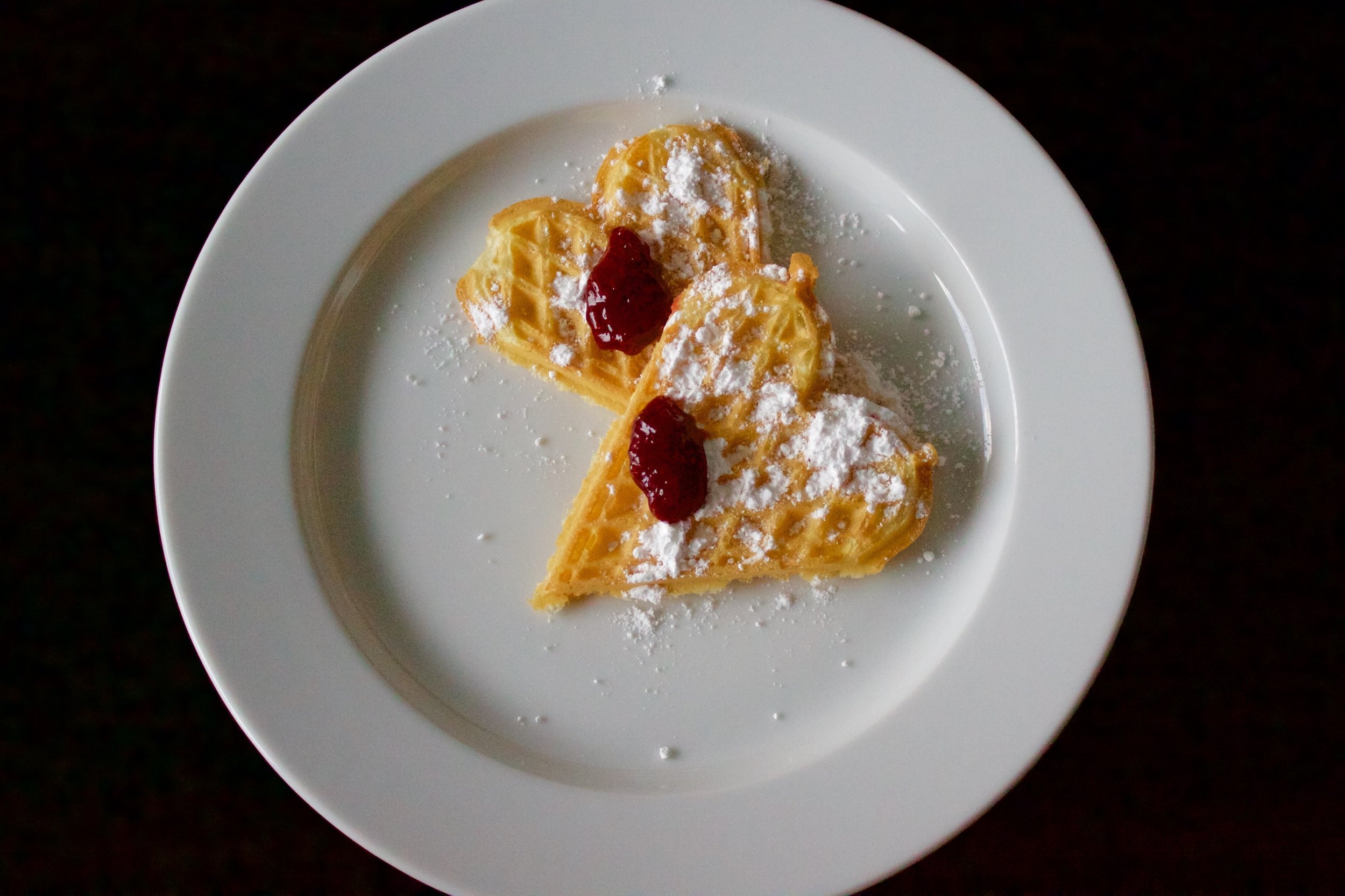 Scandinavian Heart-Shaped Waffles - traditional Scandic-Style with jam and powdered sugar | In Carina's Kitchen