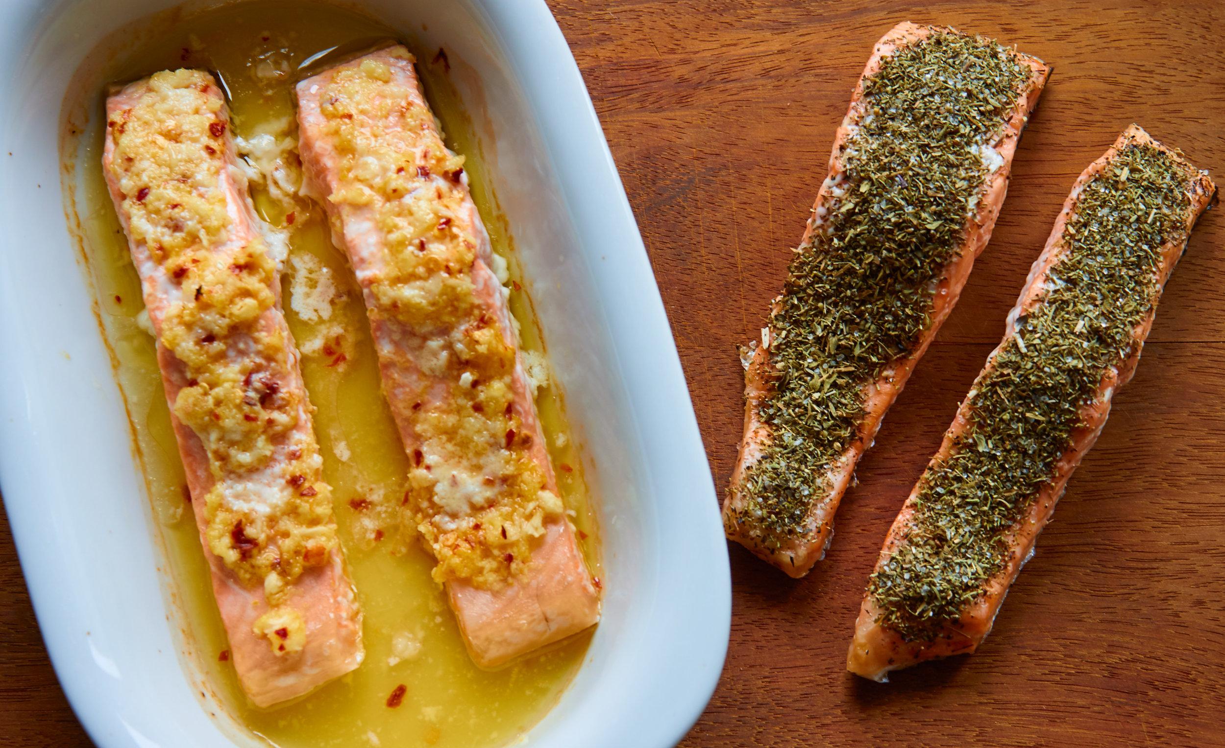 Baked Salmon 2 Ways - Herb Crusted Salmon vs Lemon-Ginger Salmon | In Carina's Kitchen