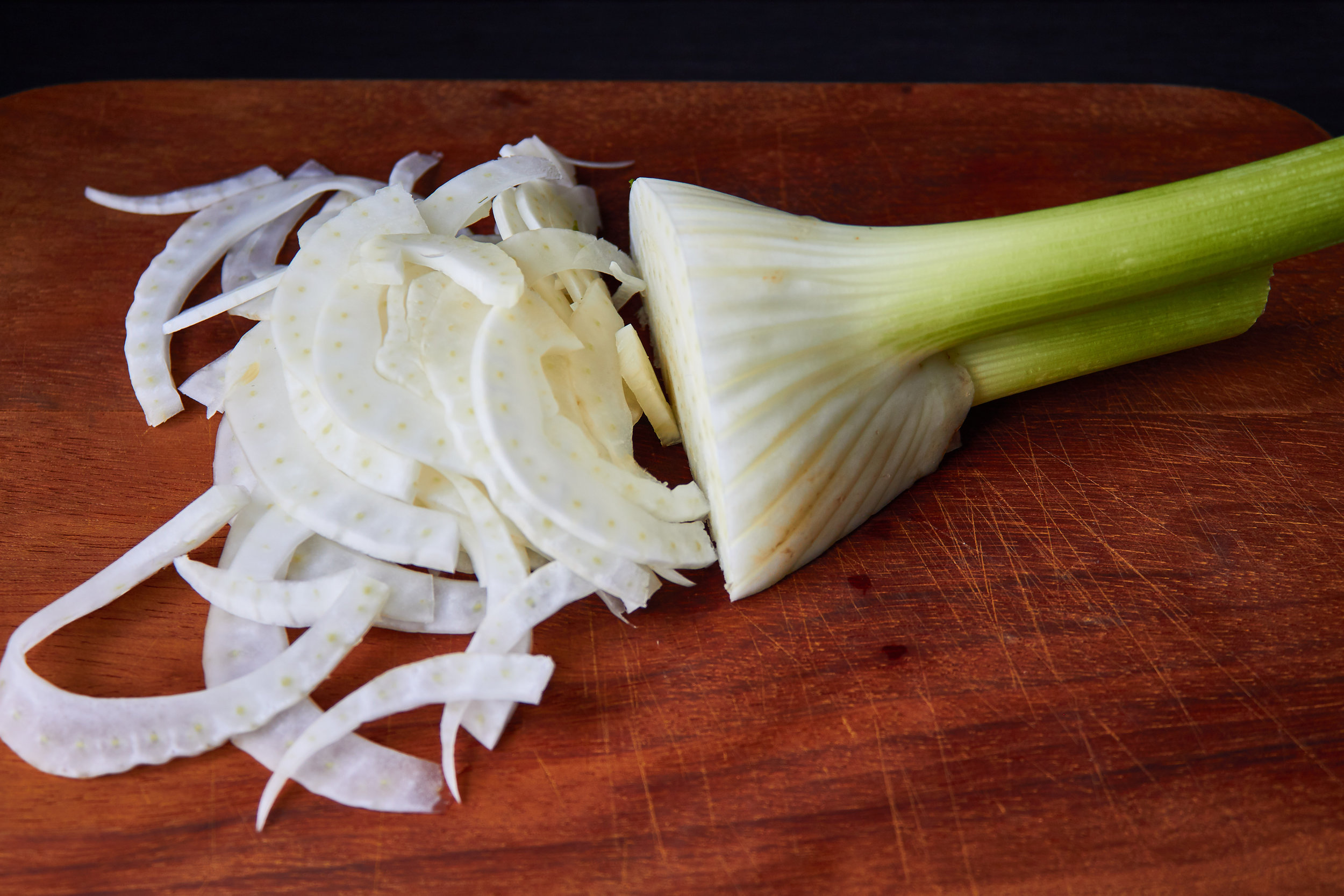 Blood Orange, Fennel and Pomegranate Salad - slicing the fennel thinly | In Carina's Kitchen