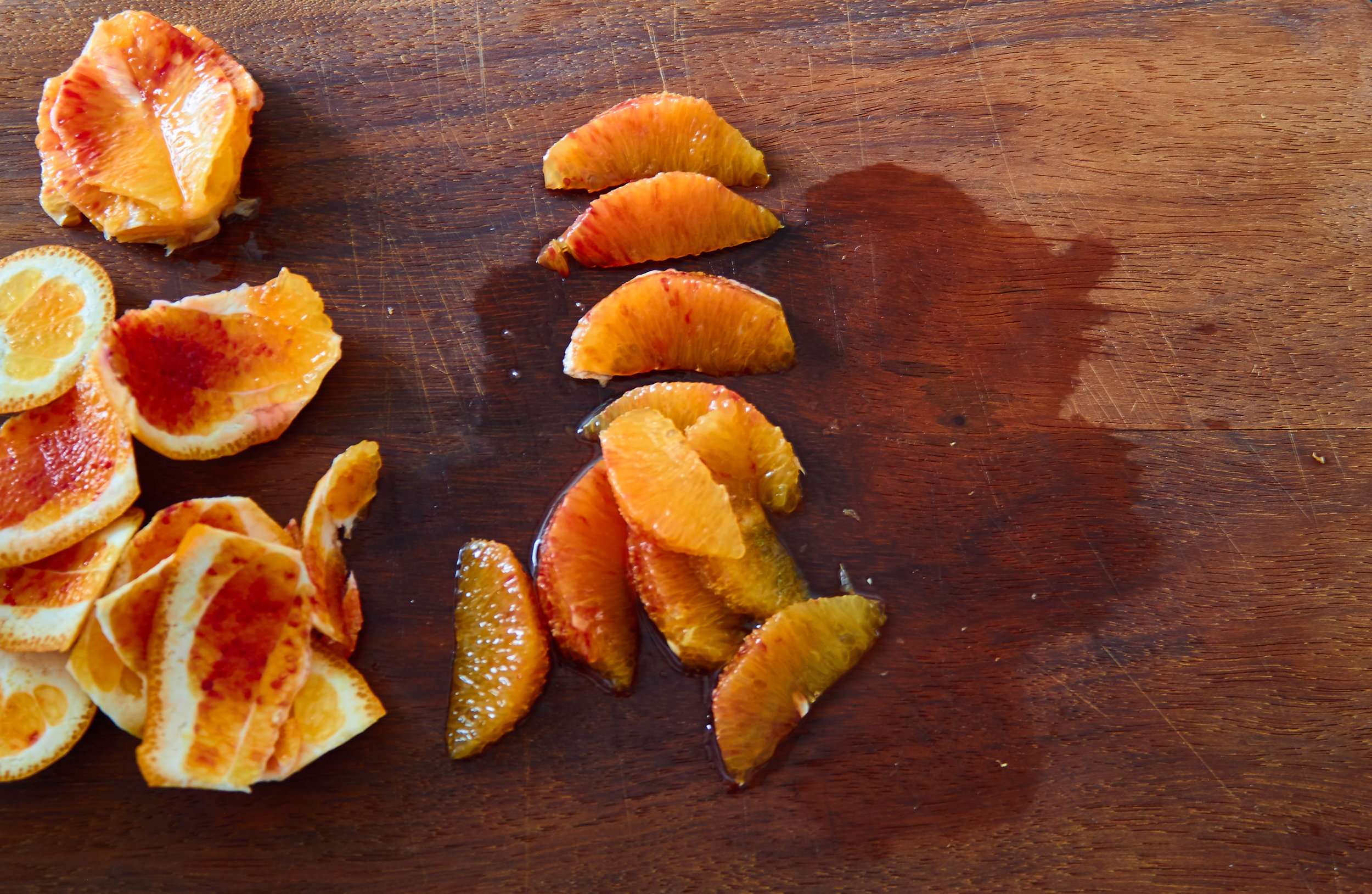 Blood Orange, Fennel and Pomegranate Salad - slicing and supreming the oranges  | In Carina's Kitchen