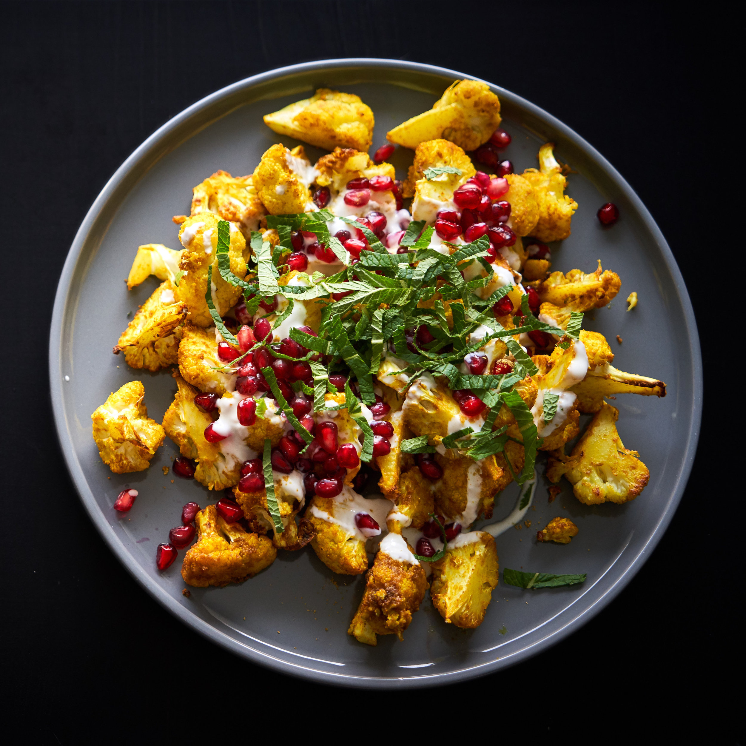 Roasted Cauliflower with Turmeric, Pomegranate and Mint | In Carina's Kitchen