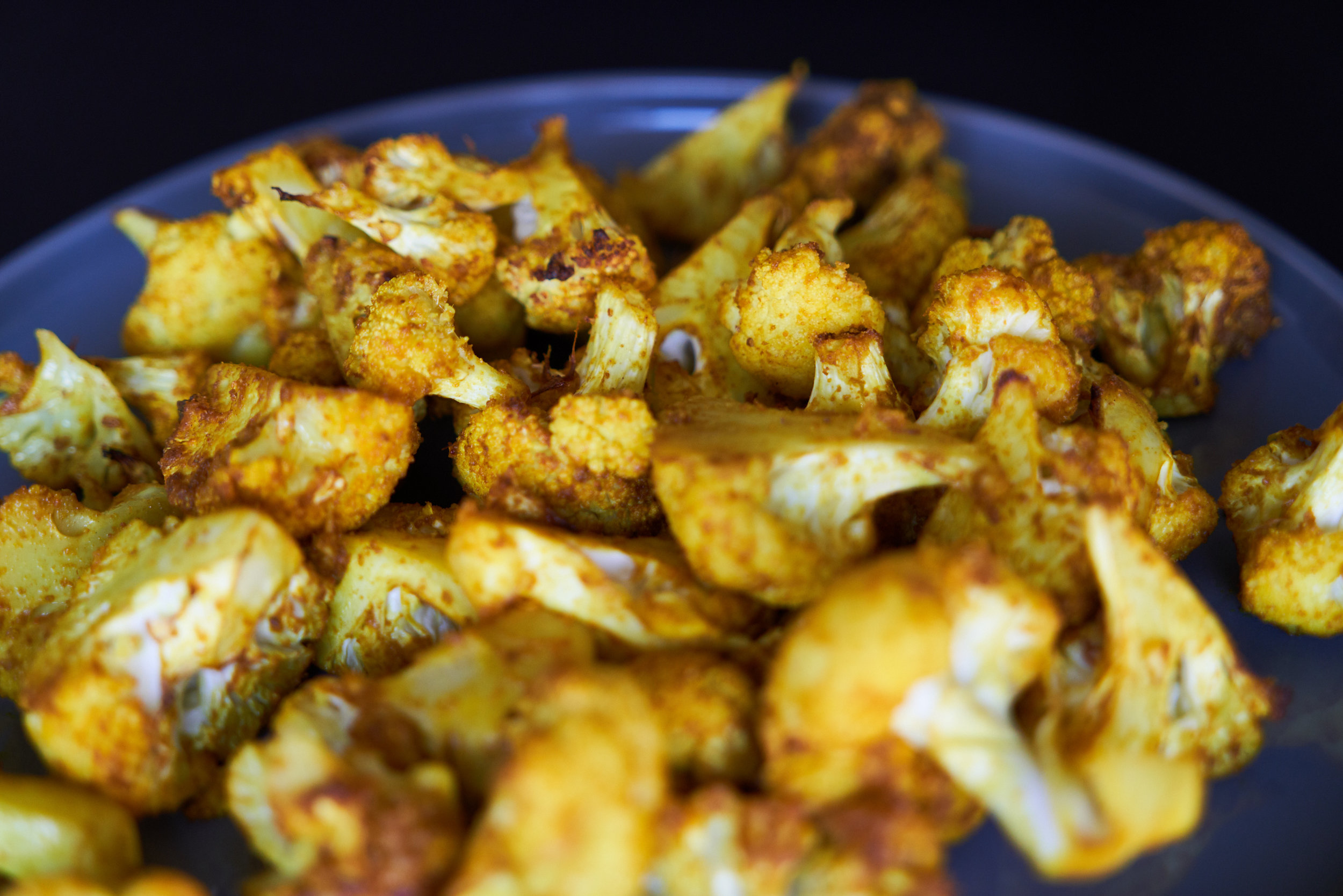 Roasted Cauliflower with Turmeric, Pomegranate and Mint - cauliflower after roasting | In Carina's Kitchen
