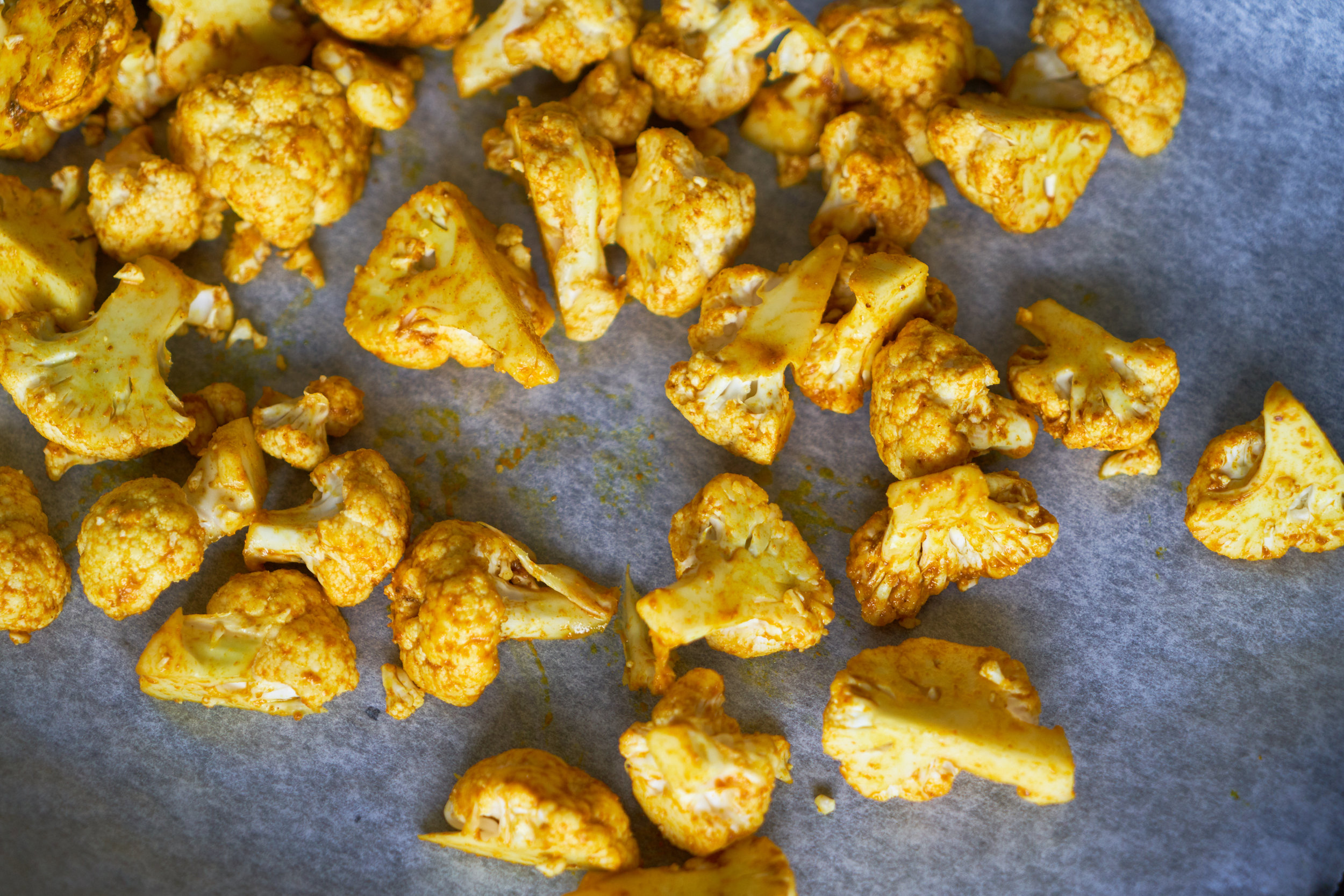 Roasted Cauliflower with Turmeric, Pomegranate and Mint - cauliflower before roasting | In Carina's Kitchen